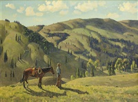 landscape with cowboy and horse by fred darge