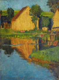 summer landscape with houses by otto heinrich engel