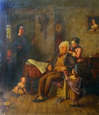 interior scene with mother, children and granddad by j. turner