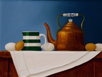 still life with copper kettle and eggs by paul kavanagh