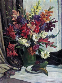 still life, vase of summer flowers before a curtain by sir daryl ernest lindsay