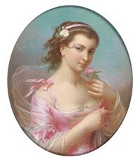 portrait de jeune fille à la robe rose by théodore fantin-latour