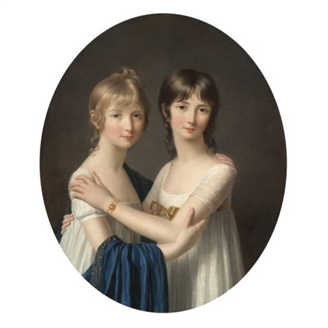 portrait of two sisters wearing white dresses by marie victoire lemoine