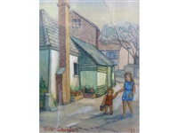 young woman walking with a child past houses on the way to the beach by alan lowndes