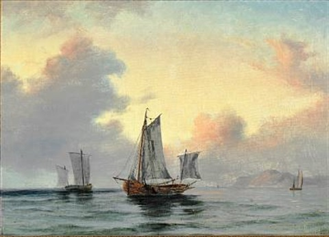 fishing wessels off the coast by daniel hermann anton melbye