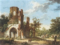 the ruins of the abbey rijnsburg by pieter barbiers bartholomeusz