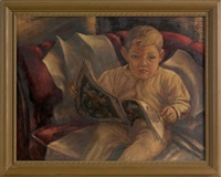 illustration of a young boy with a book by edward l. loper