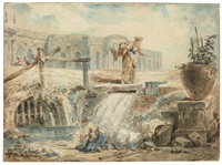laundresses by water cascading into a stream by hubert robert