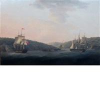 ships surveying wreckage off a coast signed indistinctly p. elliott? on by british school (19)