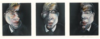 three studies for a self-portrait (3 works on 1 sheet) by francis bacon