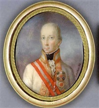 francis ii, holy roman emperor and emperor of austria, in white coat with gold-striped facings and collar, frilled cravat and black stock, wearing the jewel of the order of the golden fleece... by joseph kaltner