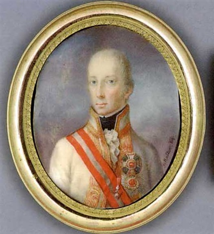 francis ii holy roman emperor and emperor of austria in white coat with gold striped facings and collar frilled cravat and black stock wearing the jewel of the order of the golden fleece by joseph kaltner