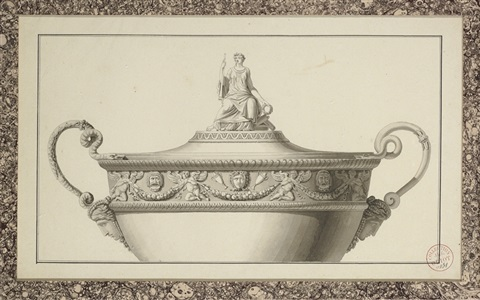 design for the upper part of a tureen crowned with the figure of calliope bearing a trumpet and laurel crown by jean guillaume moitte