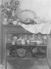 still life: cupboard with harrods loaf and copper pan by pamela kay