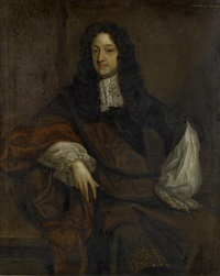 portrait of sir edward dering in a purple mantle and a white chemise by john greenhill