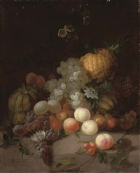 a pineapple, a watermelon, grapes, pears, peaches and other fruits with flowers on a stone ledge by joseph rhodes