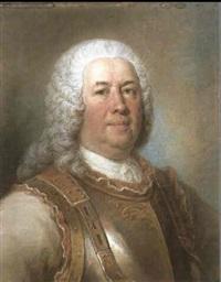 portrait of general major gaspard fontenay, bust length,  wearing a breastplate by david miller