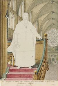 portrait of cardinal anne-louis-henri de la fare (1752-1829) standing on a pulpit in reims cathedral by pierre françois léonard fontaine