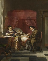 a doctor's visit with a lady pouring medicine at the table by hendrik heerschop