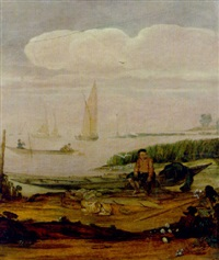 a river landscape with a fisherboy seated on a boat by the shore, other shipping beyond by arent (cabel) arentsz