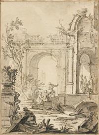 ruines antiques animées by johann heinrich keller