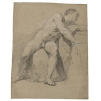 seated academy nude turning to the right by francois le moyne