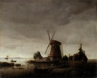 a windmill in by a river by karl adloff