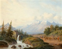 travelers in a mountainous landscape by carl eduard ahrendts