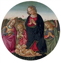 the virgin with the infant saint john the baptist and angels adoring the christ child by bartolomeo di giovanni