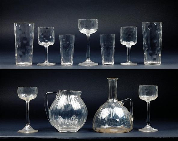 set of glasses in 29 pieces Meteor by Koloman (Kolo) Moser