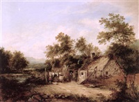 peasant woman hanging washing before a thatched cottage by barbara nasmyth