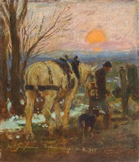 a farmer and horse at sunset by julius paul junghanns