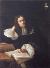 homme de qualité assis à sa table de travail la main gauche posée sur un livre ouvert by magdelène hérault-coypel