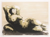 reclining woman on sea shore (c. 596) by henry moore