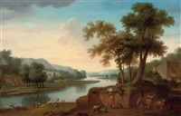 a wooded river landscape with a shepherd and shepherdess making music, their cattle and flock beyond by george lambert