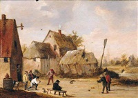 a village scene with peasants playing skittles by abraham teniers