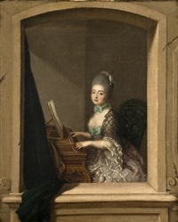 portrait de jeune femme au piano forte devant une fenêtre by johann eleazar schenau