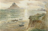 fishermen hauling a boat up on the beach before st. michael's mount by harry goodwin