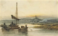 fisherman on the pearl river at sunset, a pagoda beyond by george chinnery