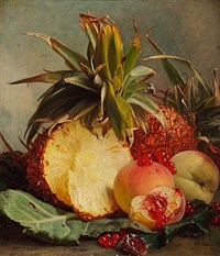 still life with pineapples and peaches by theude grönland