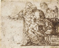 a group of gypsy women with a child by jan van de venne