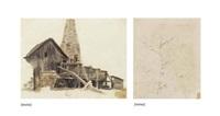 fabrique artisanale à montmartre (recto); étude d'arbre (verso ) by théodore géricault