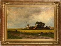 paysage au moulin by adrianus van everdingen