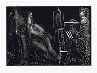 peintre à son chevalet avec deux femmes nues by pablo picasso