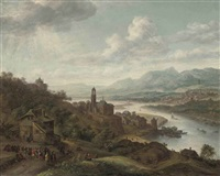 a rhenish river landscape with peasants dancing before an inn, a village with a church and shipping beyond by robert griffier