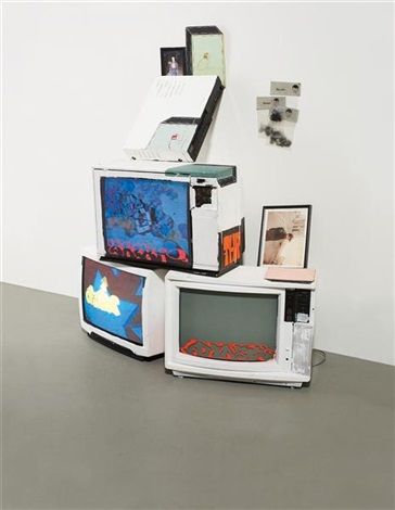 untitled tv stack by barry mcgee