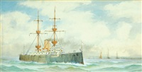 harbour scene with a naval steam ship (+ another; 2 works) by albert markes