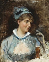 woman with a cigarette by albert edelfelt
