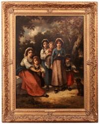 trois bohemiennes at trois enfants (mme díaz et marie): a gypsy family by diaz de la pena