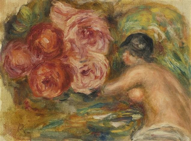 roses et étude de gabrielle by pierre auguste renoir